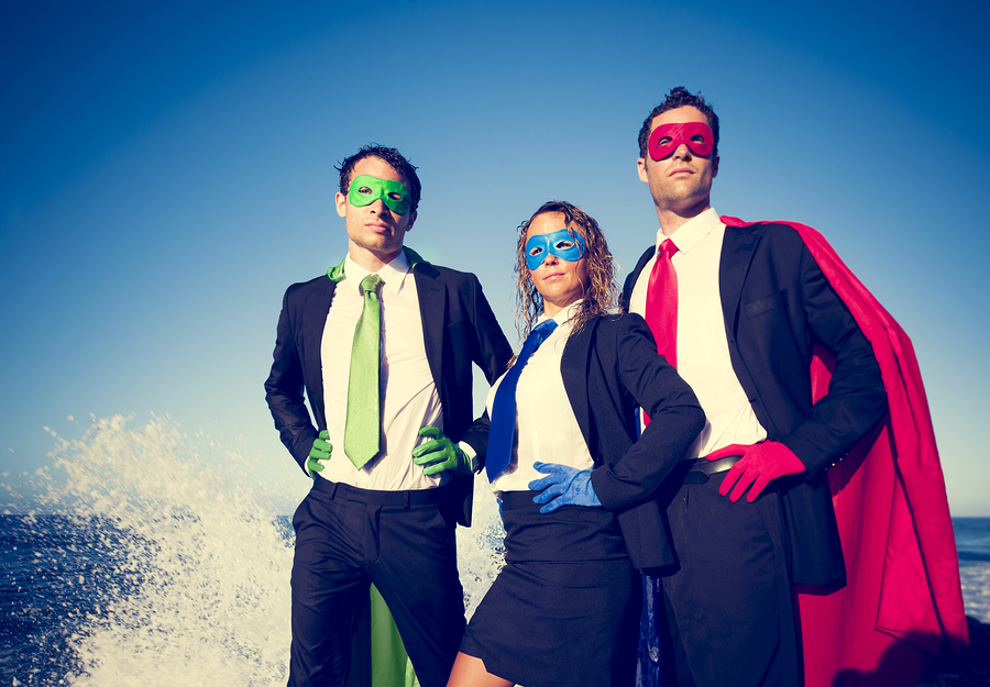 Superhero Business People at Stormy Ocean